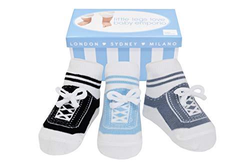 Baby Emporio 3 pares de calcetines para bebé niño - Suelas antideslizantes - Algodón suave - Con bolsita regalo - Efecto zapatillas - 0-12 meses (LITTLE STEPS)