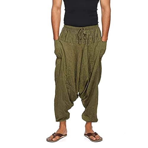 "Simandra Haremshose ""Singharaja"" I Grün (Einheitsgröße) I Fair gehandelte Unisex Aladinhose I Schlichte Pumphose für jedes Outfit I Baggy Hose I Handgemacht in Nepal"