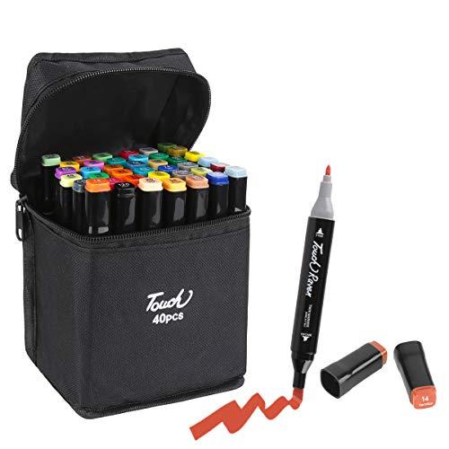 Marker Stifte, 40 Farben Aquarell Bleistifte Art Pinsel Stifte Set Buntstifte Stifte Textmarker mit Dual-TIPP für Manga Comic-Zeichnung, Malerei, Schreiben, Färbung Bücher
