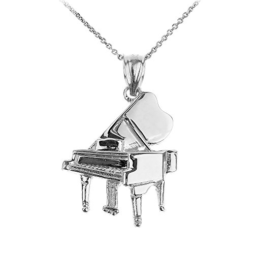 925 Sterling Silver Music Charm Grand Piano Pendant Necklace, 16'