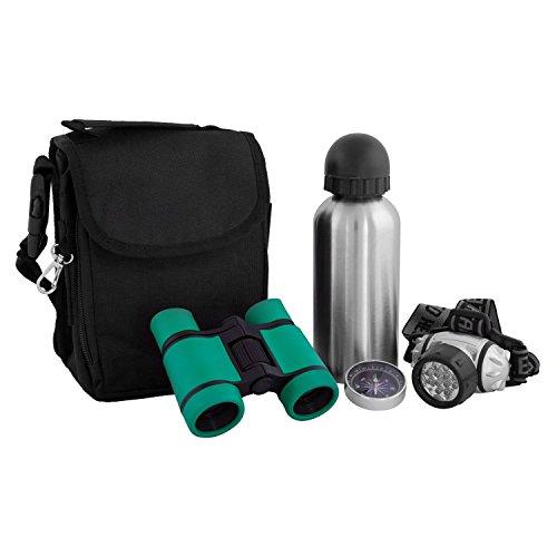Bresser junior Outdoor Set mit 4x30 Fernglas, Trinkflasche, Stirnlampe, Kompass und Transporttasche mit vielen Fächern