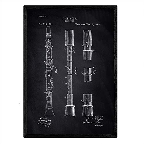 Nacnic Poster con patente de Clarinete. Lámina con diseño de patente antigua en tamaño A3 y con fondo negro