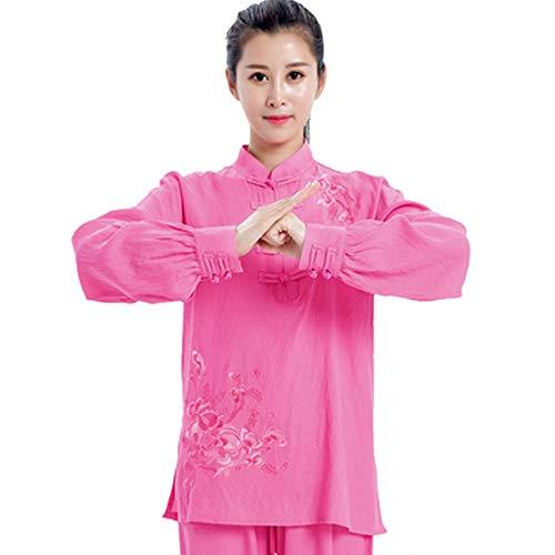 QIQI Yoga Tai Chi Uniform, Frau Traditionelles Kung Fu Kostüm Langarm Meditationstraining Stickerei,Dark pink,S