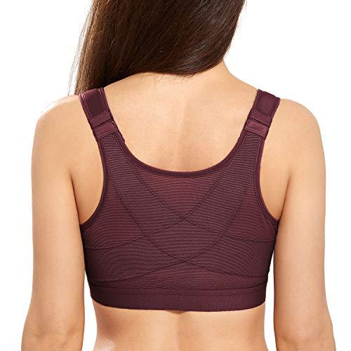 DELIMIRA Women's Full Coverage Front Closure Wire Free Back Support Posture Bra Vermilion 44E