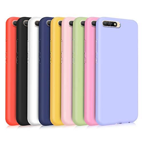 9X Compatibile con Cover Huawei Y6 2018   Honor 7A, Ultra-Sottile Tinta Unita Silicone Morbido TPU Custodia Protettiva Anti-Urto Anti-Graffio Cellulari Protezione Paraurti Case - Nove Colore