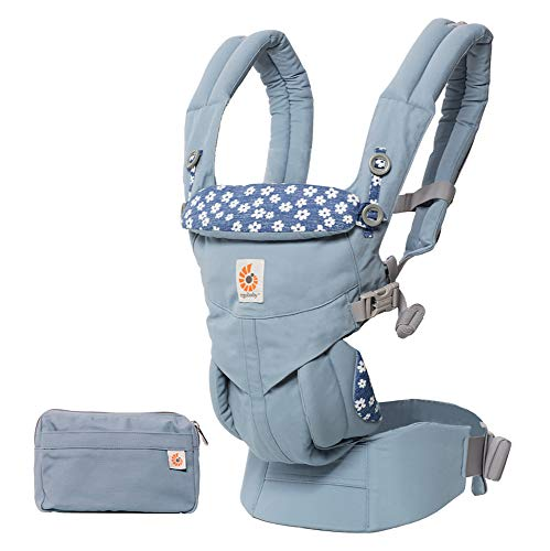 Ergobaby Babytrage für Neugeborene ab Geburt, 4in1 Omni 360 Baumwolle, Kindertrage Tragesystem (Blue Daisy)