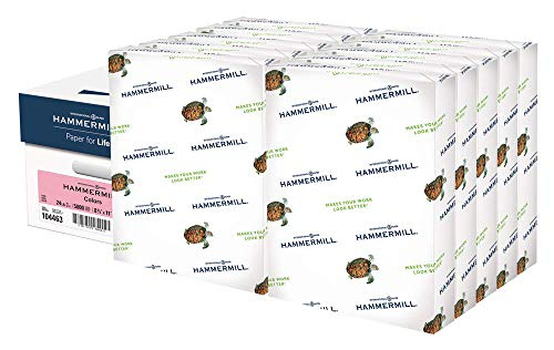Hammermill Pink Colored 24lb Copy Paper, 8.5x11, 10 Ream Case, 5,000 Total Sheets, Made in USA, Sustainably Sourced From American Family Tree Farms, Acid Free, Pastel Printer Paper, 104463C