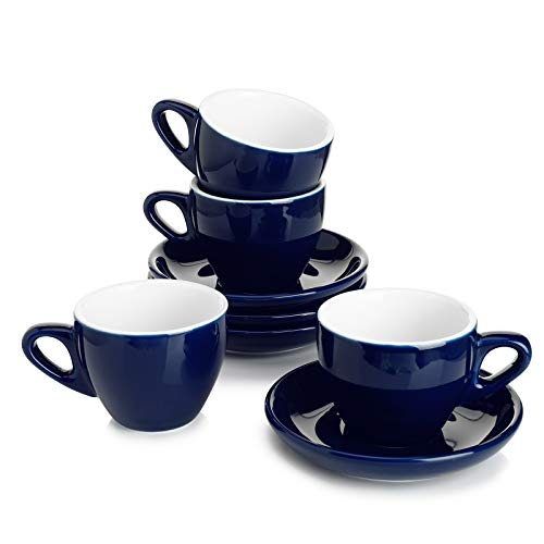 Sweese 403.403 Cappuccino Cup and Saucer Set, 6 Ounce Perfect for Specialty Coffee Drinks, Latte, Cafe Mocha and Tea, Set of 4, Navy