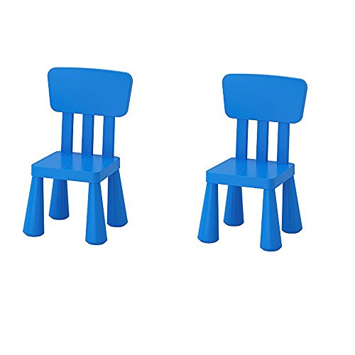 Ikea Mammut Kids - Silla infantil para interiores y exteriores, color azul - 2 unidades