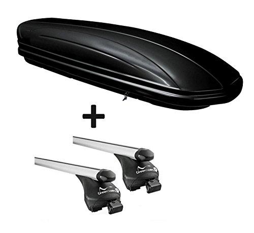 Dachbox VDPMAA320 320Ltr abschließbar schwarz + Relingträger Quick Alu kompatibel mit Mini Countryman ab 2017 offene Reling