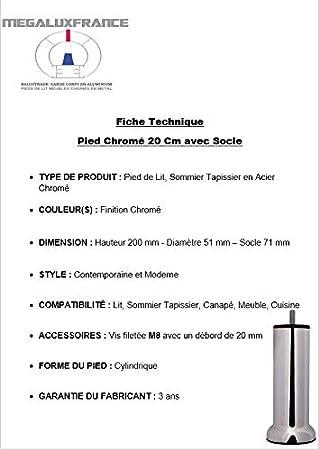 Sommier Tapissier en Acier Finition INOX Bross/é 20 cm avec Socle Vis Filet/é M8 MEGALUXFRANCE 10 Pieds de Lit