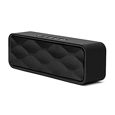 Bluetooth Speakers, TANGLEI Portable Wireless Bluetooth Speaker with HD Audio and Enhanced Bass, Built-In Dual Driver Speakerphone, Handsfree Calling, FM Radio and TF Card Slot, Black