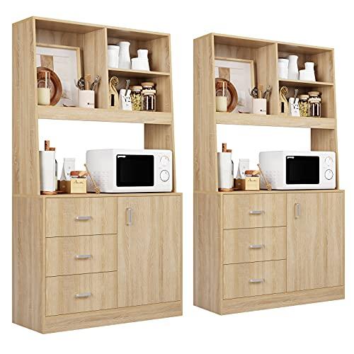 2X Küchenschrank Sideboard Kommde mit Unterschrank und Schubladen Hochschrank Highboard Büffet für Küche Esszimmer Wohnzimmer 171x38x100 cm Eiche