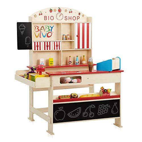 Baby Vivo Kaufladen 'Finn' mit Eisfach aus Holz Kaufmannsladen Verkaufsstand mit breiter Theke und Tafel Kinderkaufladen