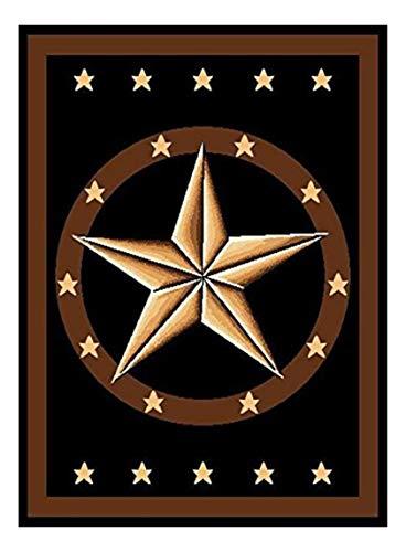 Furnish my Place Texas Western Star Rustic Cowboy Décor Area Rug, Brown/Black