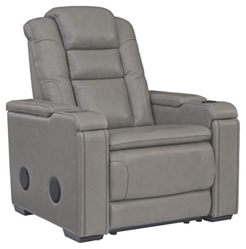 Signature Design by Ashley - Boerna Contemporary Leather Power Recliner - Adjustable Headrest - Gray