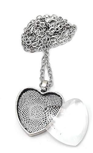 Bastel Express Kit de création de bijoux comprenant 2 pendentifs médaillon en forme de cœur avec œillets, colliers et cabochons en verre cristal adhésif 25 mm