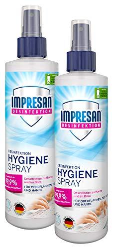 Impresan Hygiene-Spray: Desinfektionsspray für Oberflächen und Textilien - Desinfektions-Pumpspray - 2 x 250ml im praktischen Vorteilspack