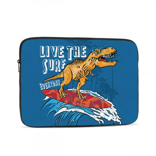 Laptop Case MacBook Pro Dinosaur is Riding Surfboard Laptop Covers Multi-Color & Size Choices10/12/13/15/17 Inch Computer Tablet Briefcase Carrying Bag