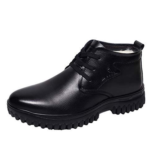 Botines Oxford para Hombre, cálidos de Piel sintética, de Invierno, al Aire Libre, Informales, para Caminar, Zapatos de Trabajo, Botas Altas Negras de Cuero Suave para la Nieve