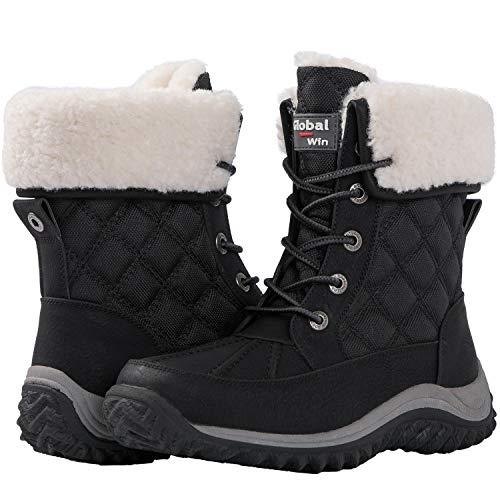 GLOBALWIN Women's 1919 Black Fleece Lined Winter Snow Boots 6.5M