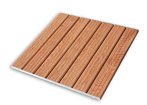Castelmerlino 233 Duschwand aus Lärche mit Komfort-Lattenrost und Profilen aus Aluminium 64 x 64 cm für Teller 80 x 80 cm