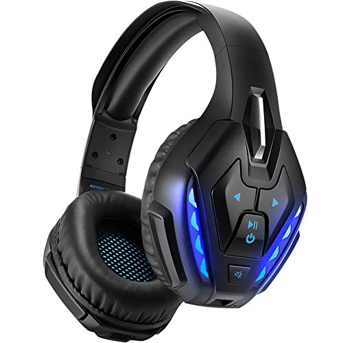 YOTMS Wired Gaming Headset for PS4, Xbox One, PC, Nintendo Switch, with Detachable Mic, Bluetooth Wireless Over Ear Headset with Bulit in Mic, 40 Hours of Use, Noise Cancelling Headphones (Blue)