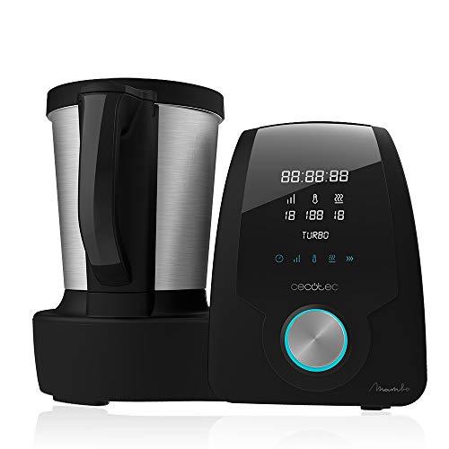 Cecotec Multifunktions-Küchenmaschine Mambo Black Kapazität 3,3 l, Temp. bis 120 °C mit Auswahl, 10 Geschwindigkeitsstufen + Turbo, Programmierbar bis 12 h, inkl. Rezept, 1700 W