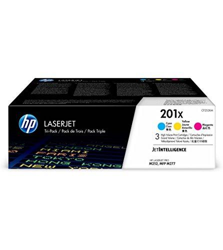 HP 201X (CF253XM) Multipack Original Toner (Cyan, Magenta, Gelb) mit hoher Reichweite für HP Color Laserjet Pro M252, M274n, M277