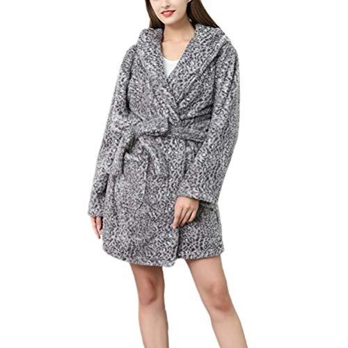 TOPBATHY Womens Warm Flanellen Robe Luipaard Comfortabele Slaapmode Mouwen Winter Badjas Huis Jas Katoen Badjas voor Vrouwen Meisjes Dames S XL Dark Grey.