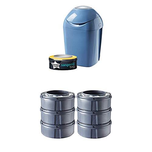 Tommee Tippee Sangenic Tec - Set básico de contenedor de pañales + 7 recambios (azul)