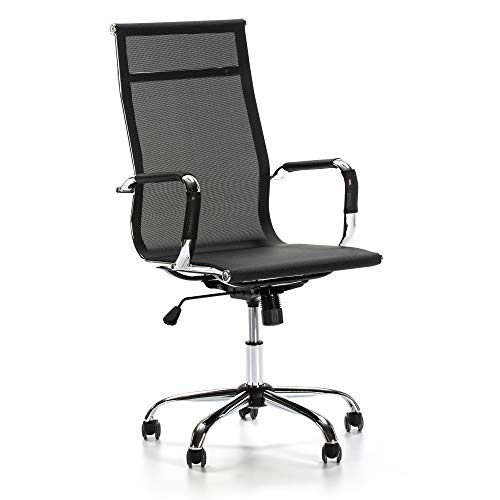 VS Venta-stock Sillón de Oficina Slim reclinable, Tejido Transpirable, Silla ejecutiva con reposacabezas, Altura Ajustable, Diseño ergonómico