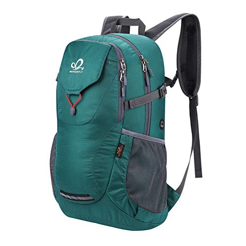 WATERFLY Waterproof Camping Hiking Backpack: Packable Lightweight Water Resistant Bag with Adjustable Chest Strap for Hiking Climbing Biking Trekking Accessory Camping Gear Beach Daypack