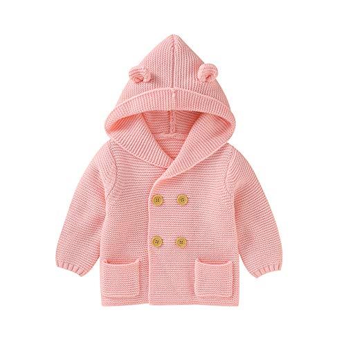 Muium(TM) Chaqueta de punto con capucha para bebé, de ganchillo, para exteriores, invierno, chaqueta de punto con capucha Rosa. 80 cm