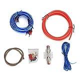 Qiilu Cable de amplificador de potencia, coche 10GA Amplificador de potencia Subwoofer Altavoces de audio Reemplazo de kit de cables de aleación de zinc