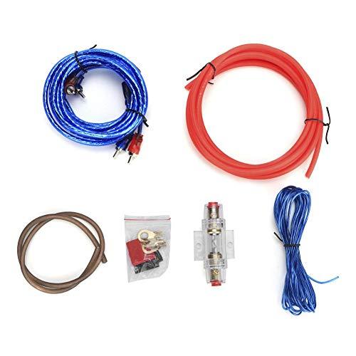 Qiilu Cable de amplificador de potencia, coche 10GA Amplificador de potencia Subwoofer...
