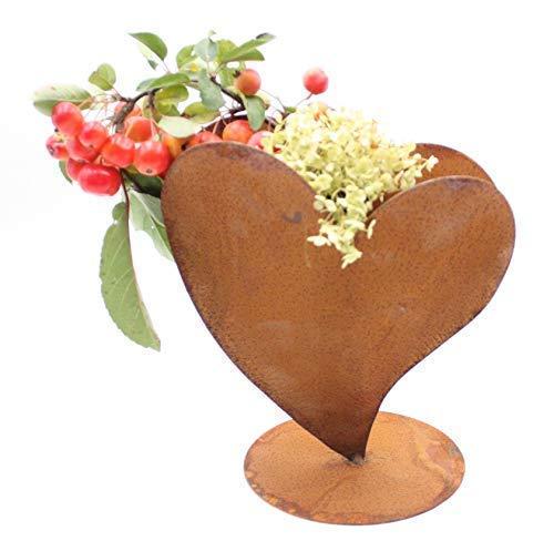 Rostikal | Edelrost Herz zum bepflanzen | Rost Metall Deko Geschenkidee | L 32 x 32 cm