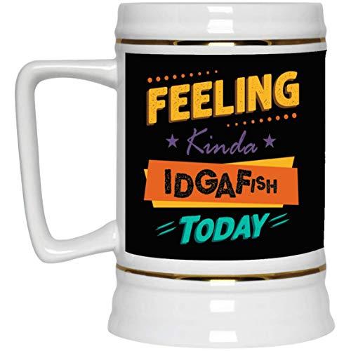 Feeling Kinda Idgafish Today Funny Sarcasm Ceramic Coffee Mug - Beer Stein - Water Bottle - Color Changing Mug, One Size, 22 oz. Beer Stein/Black