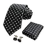 CANGRON Hombres Negro lunares blancos corbata Conjunto corbata con Pocket ajustan las mancuernas + Caja de regalo DLSB8HB