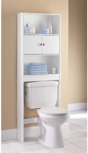 Mainstays bathroom storage over the toilet space saver with three fixed shelves white