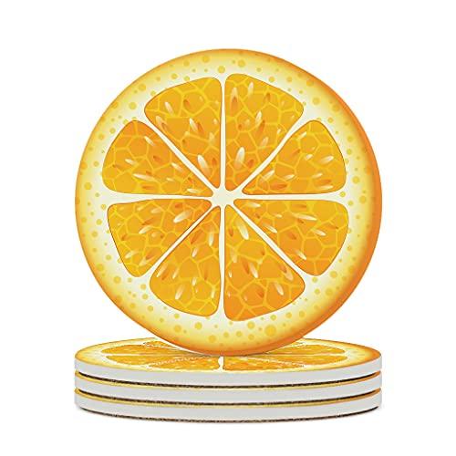 Wraill Posavasos redondos de cerámica con diseño de rodajas de fruta, limón, juego de 4/6 posavasos absorbentes con dorso de corcho para vasos y tazas, color blanco, 6 unidades
