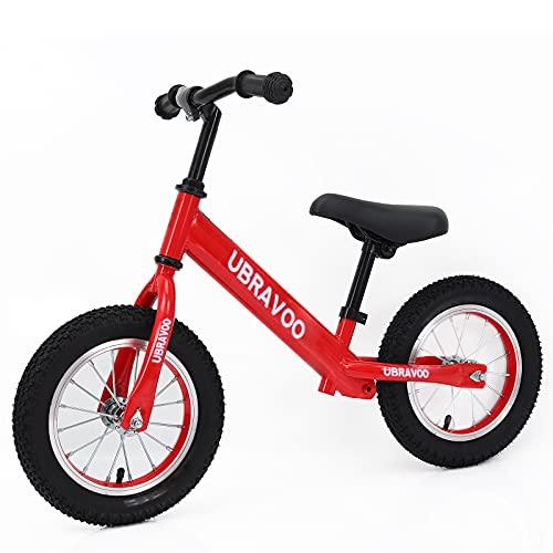 UBRAVOO キッズバイク 子供 幼児用 ペダル無し自転車 ゴムタイヤ ハンドル サドル高さ調整可 1歳半〜5歳 軽量 組み立て簡単 誕生日 お正月 クリスマス プレゼント レッド
