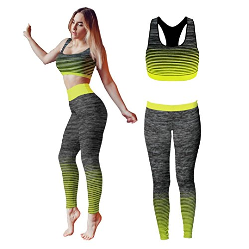 Bonjour - Abbigliamento sportivo da donna/canotta e leggings (set da 2 pezzi, top e leggings), set da palestra o per yoga, elasticizzato, Yellow Crop Top, One Size ( UK 8 - 14 )