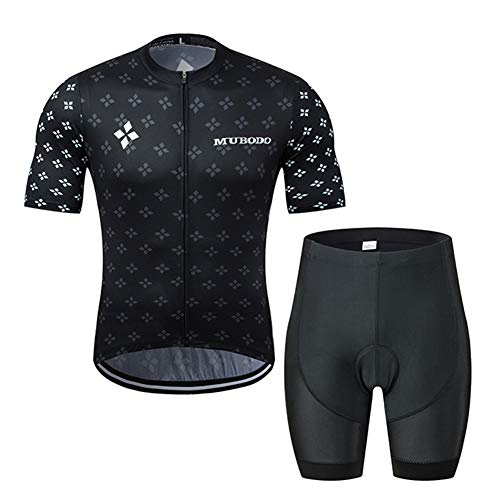 Mens Cycling Jersey Short Sleeve Set Summer Black Riding Clothing Suit with Four-Leaf Clover Pattern, Road MTB Bike Breathable Quick-Drying Sportswear Set (Short,XXXL)