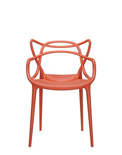 Kartell Sedia, Polipropilene modificato colorato in Massa e Trattamento Effetto Soft Touch, Set da 2, Arancio(Ruggine), 53.5 x 83 x 55 cm