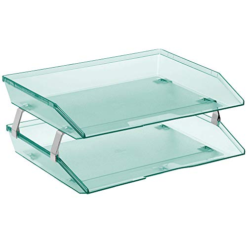 Acrimet Facility 2 Tier Letter Tray Side Load Plastic Desktop File Organizer (Clear Green Color)