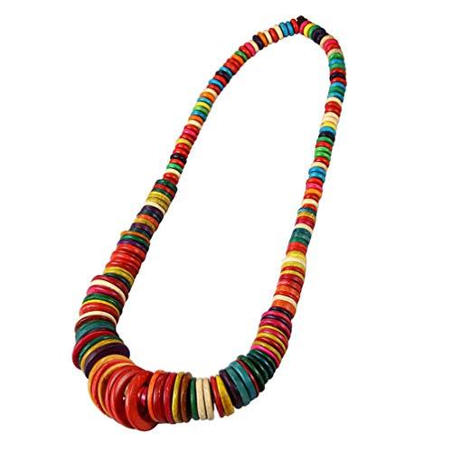 Amosfun Bohemia Coco Concha Collar con Cuentas Boho étnico Collar Largo artesanía mar Playa Fiesta Suministros para niña Mujer Dama (Cuentas de Colores de Color Aleatorio)