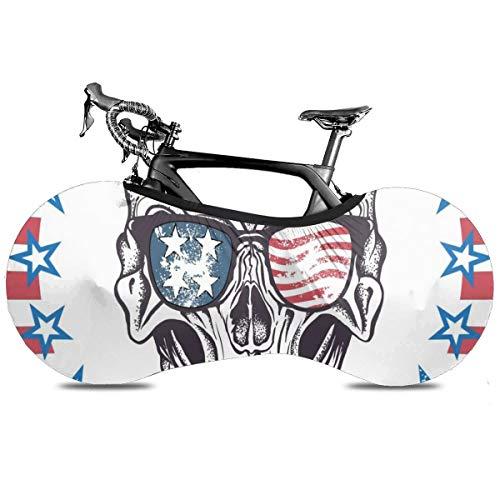 Bandera americana de calavera portátil cubierta de bicicleta interior anti polvo alta elástico cubierta de rueda de bicicleta protectora Rip Stop neumático carretera mtb bolsa de almacenamiento, Bandera estadounidense Skull1, talla única
