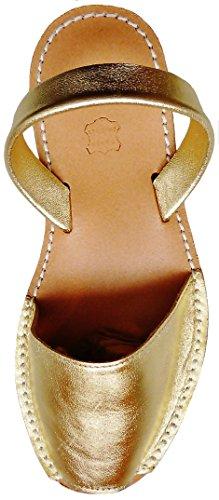 Avarcas menorquínas con Plataforma/cuña 2,5 cm, Abarcas, Albarcas, Sandalias (38, Oro Piel)
