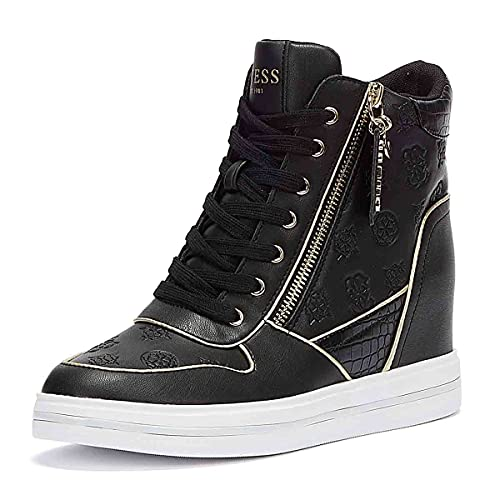 Guess Scarpe Donna Sneaker Alto con Zeppa Nangy 4g Logo Nero/Oro D22GU23 FL7NNGFAL12 35